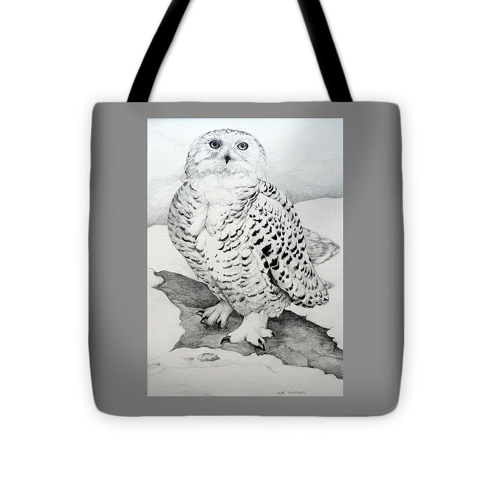 Snowy Owl Tote Bag featuring the drawing Snowy Owl by Jill Iversen