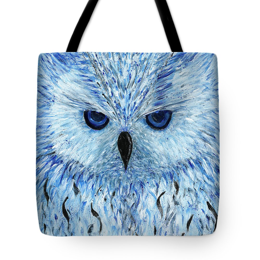 Blue Black And White Owl Tote Bag featuring the painting Snowy Owl by Koni Webb Bosch
