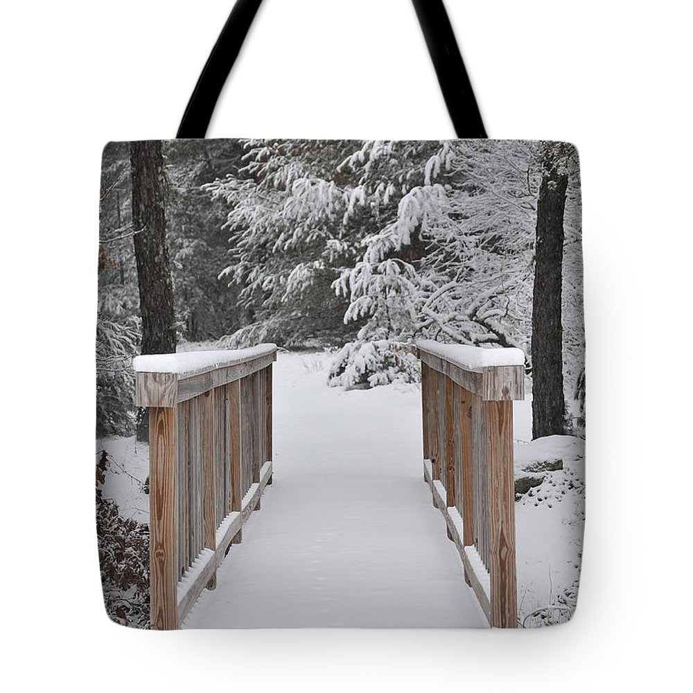 Winter Tote Bag featuring the photograph Snowy Path by Catherine Reusch Daley