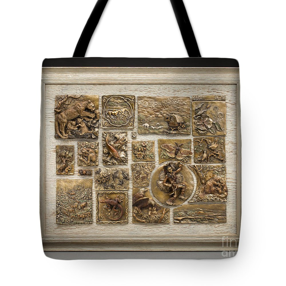 Nature Tote Bag featuring the sculpture Snowy Range Life - Large Relief Panel by Dawn Senior-Trask