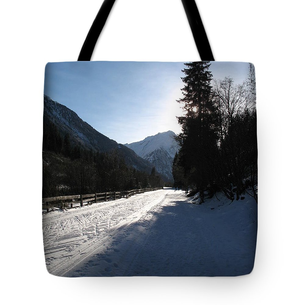 Snow Tote Bag featuring the photograph Snowy Track by Christiane Schulze Art And Photography
