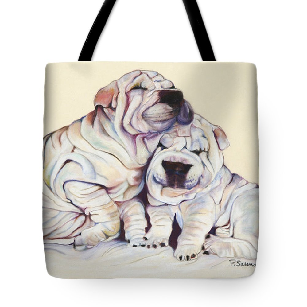 Dog Painting Tote Bag featuring the pastel Snuggles by Pat Saunders-White