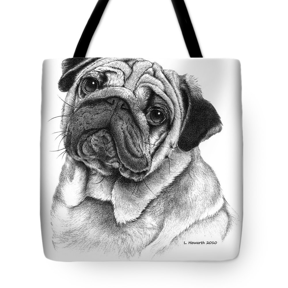 Pug Dog Tote Bag featuring the drawing Snuggly Puggly by Louise Howarth
