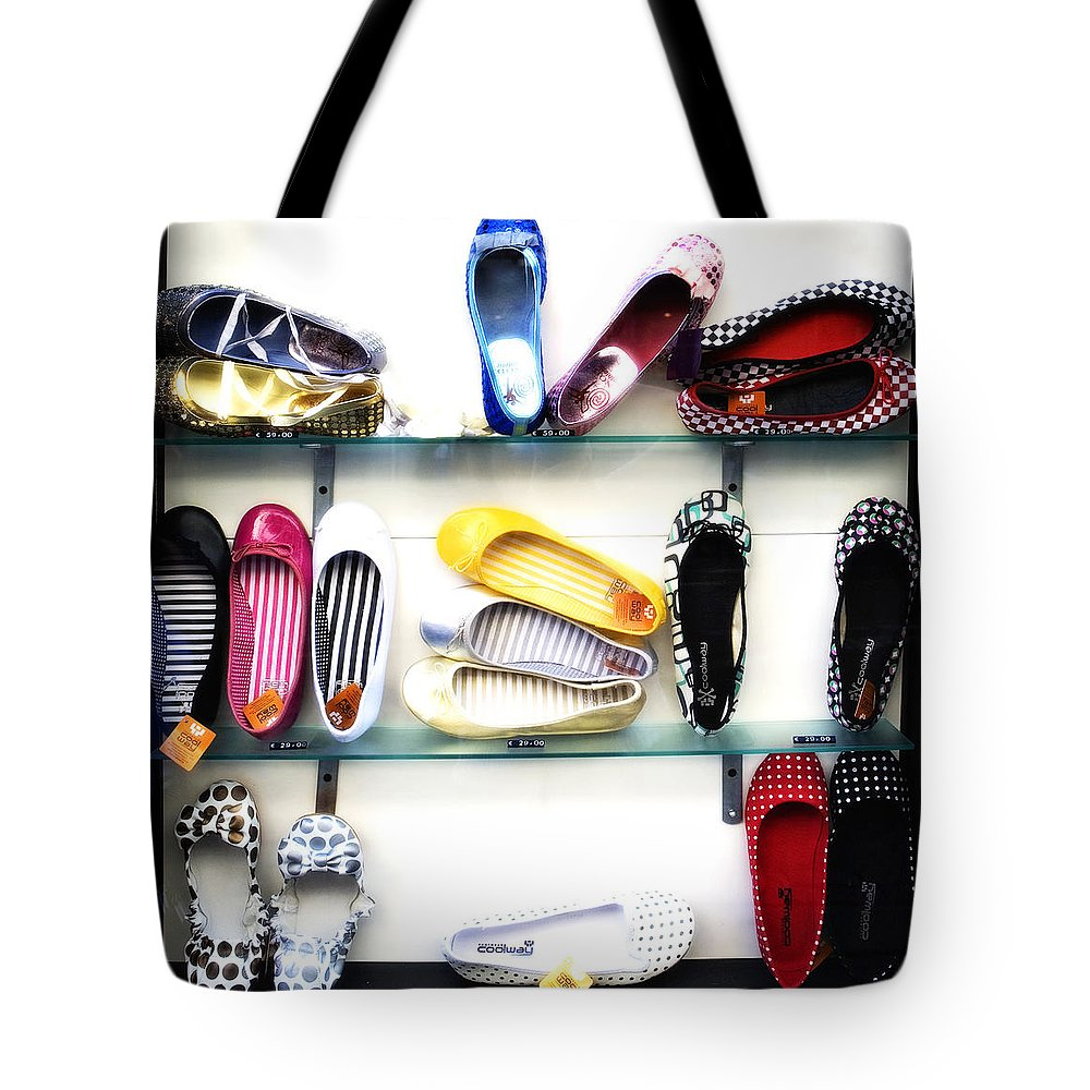 Shoes Tote Bag featuring the photograph So Many Shoes... by Marilyn Hunt