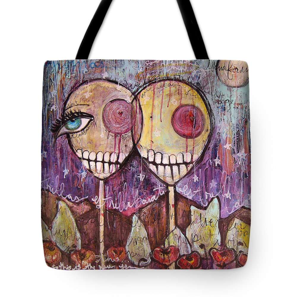 Skulls Tote Bag featuring the painting So This Is The New Year Estrellas And All by Laurie Maves ART