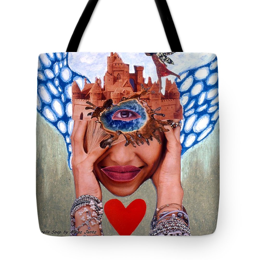 Sandcastle Tote Bag featuring the drawing Soap Scene # 12 Sandcastle Shrine by Minaz Jantz