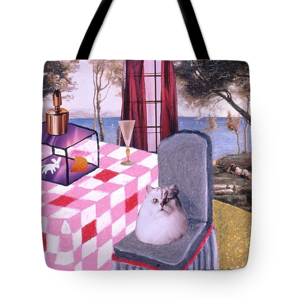Cat Tote Bag featuring the drawing Soap Scene #14 Mouse In A Cage by Minaz Jantz