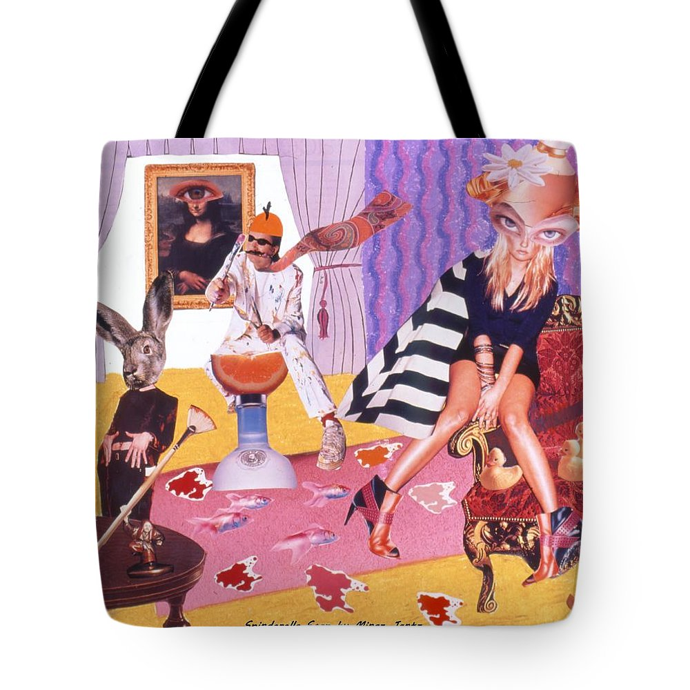 Mona Lisa Tote Bag featuring the drawing Soap Scene #20 Galleria Symbiosis by Minaz Jantz
