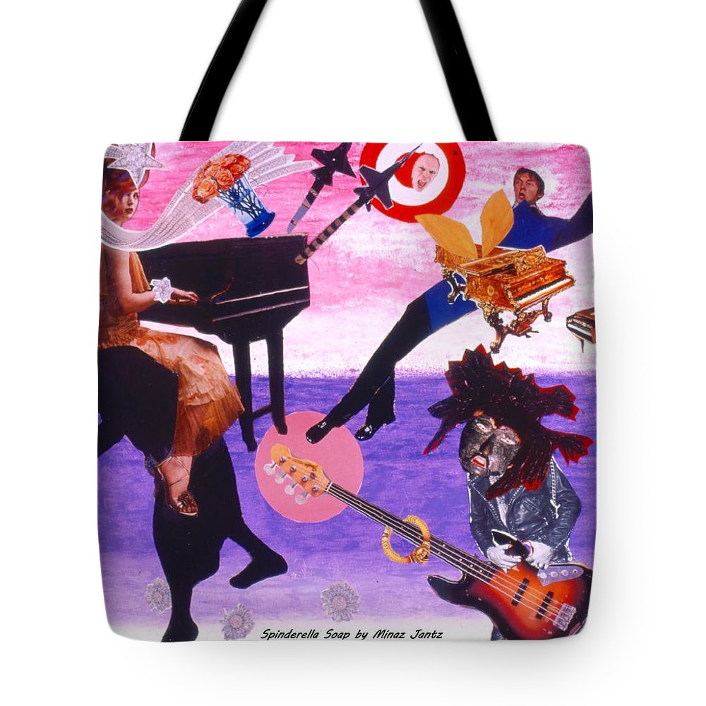 Grand Piano Tote Bag featuring the drawing Soap Scene #21 Beggar Belief by Minaz Jantz