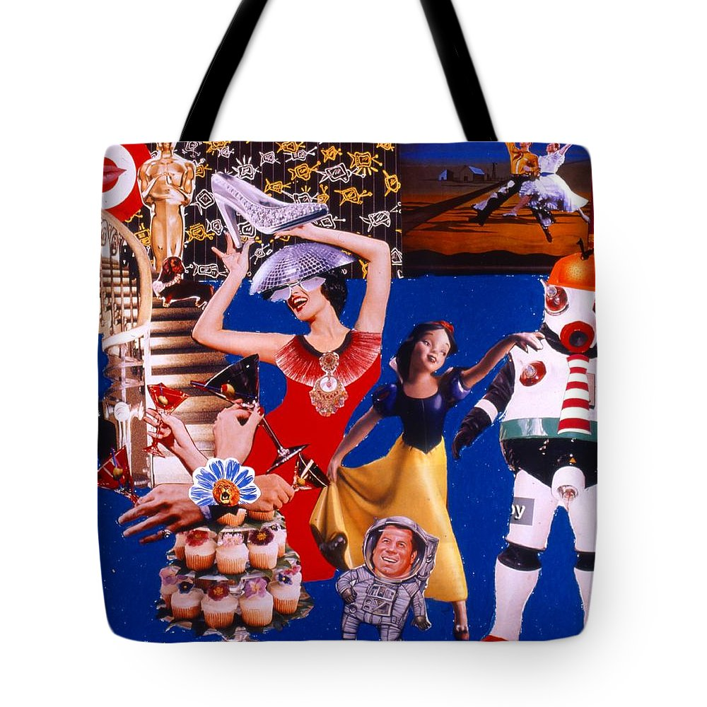 Surreal Tote Bag featuring the drawing Soap Scene #23 Oscar's Kiss Of Success by Minaz Jantz