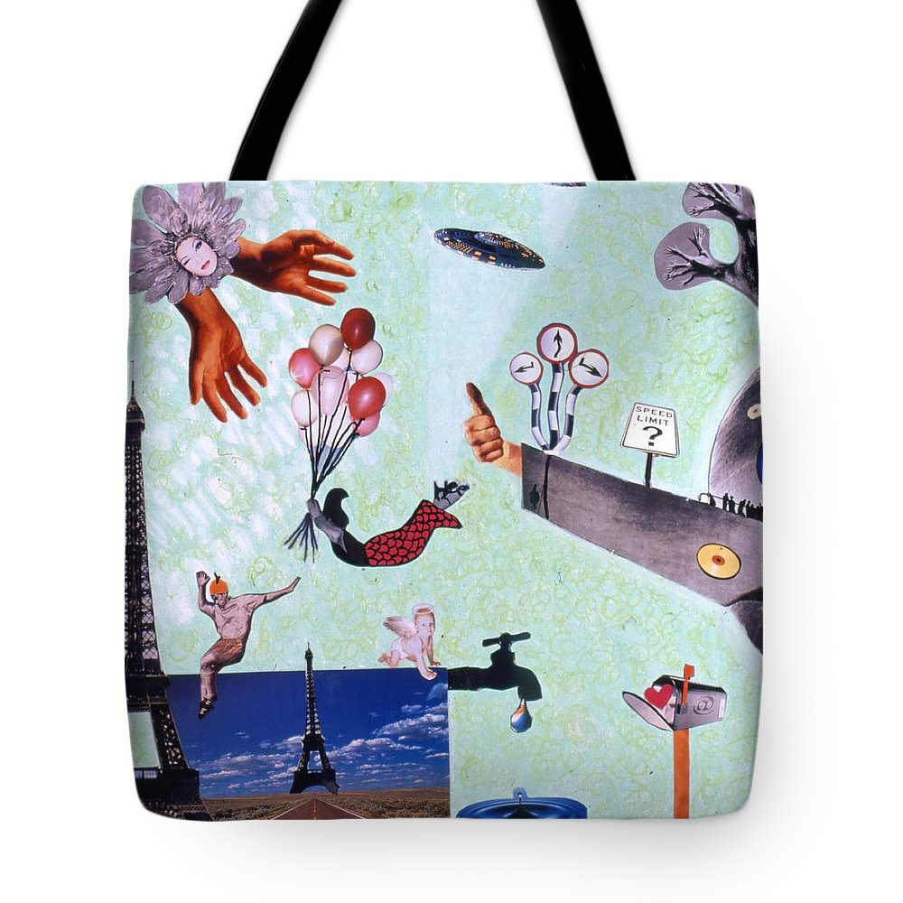 Eiffel Tower Tote Bag featuring the drawing Soap Scene #27 Zelestial Headquarters by Minaz Jantz