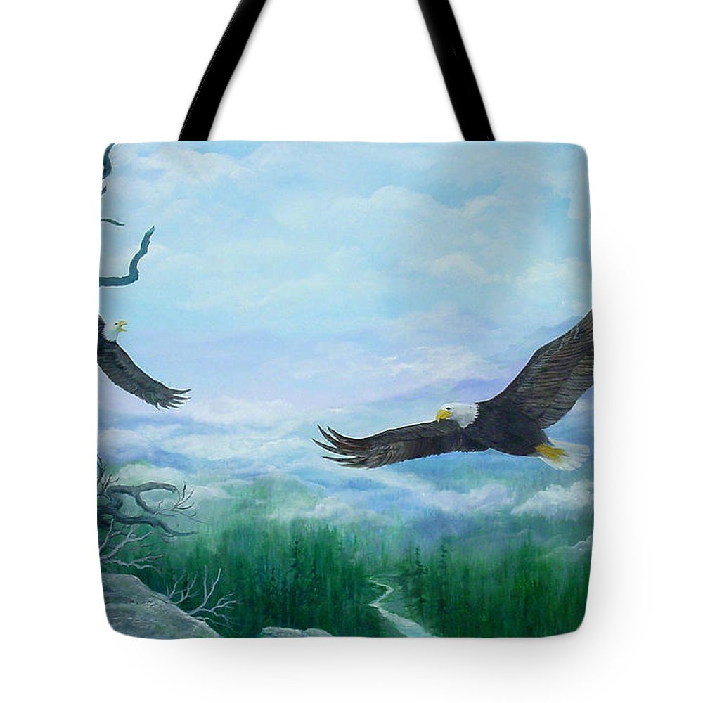 Eagles;birds;river Valley;mountains;sky; Tote Bag featuring the painting Soaring by Lois Mountz