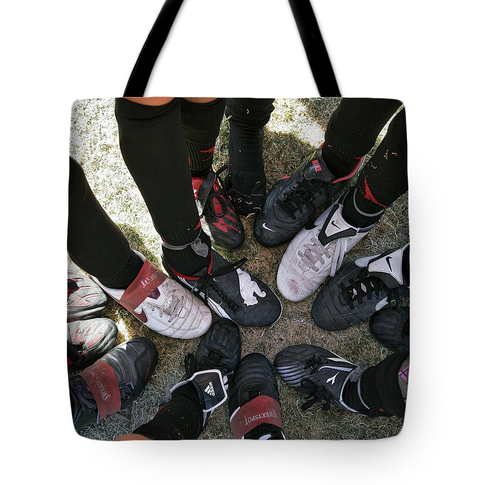 Soccer Tote Bag featuring the photograph Soccer Feet by Kelley King