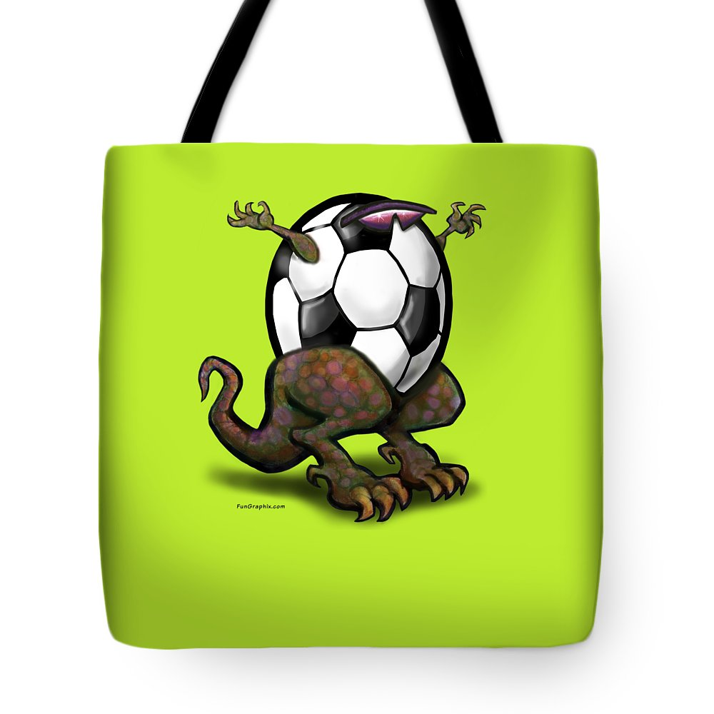 Soccer Tote Bag featuring the digital art Soccer Saurus Rex by Kevin Middleton