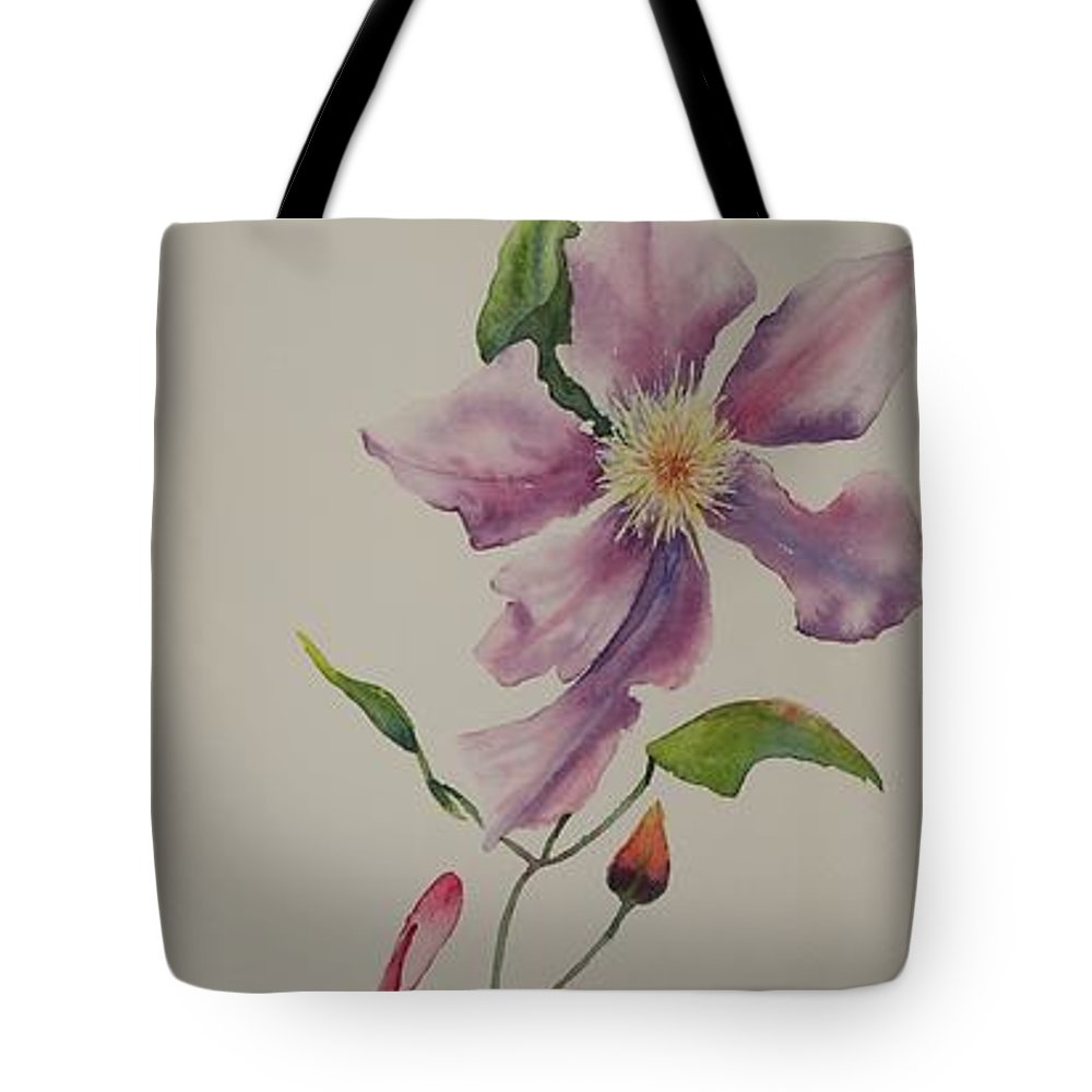 Clematis Tote Bag featuring the painting Social Climber I by Ruth Kamenev