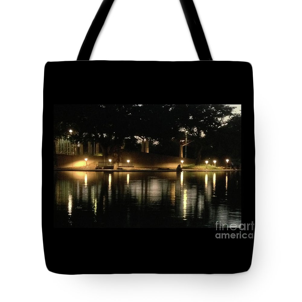 Night In The City Tote Bag featuring the photograph Soft Evening At Palmer Pond Poster Black Border No Text by Felipe Adan Lerma