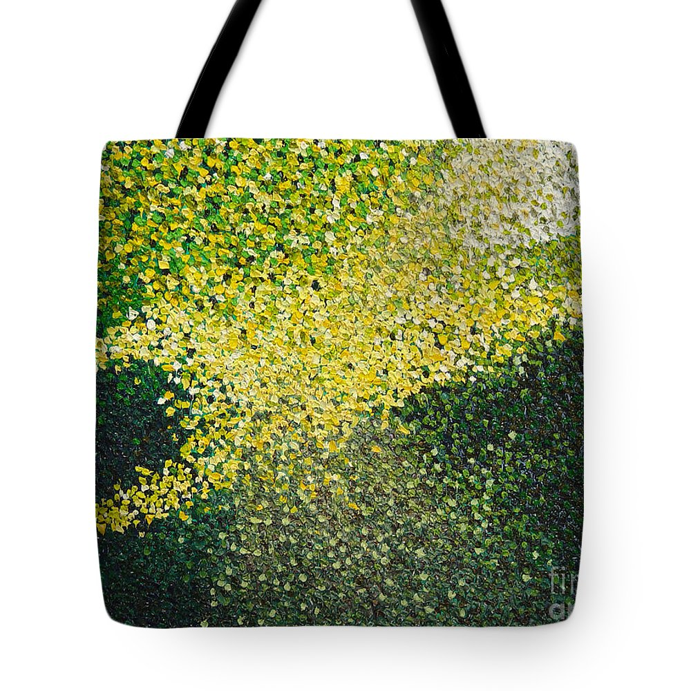 Abstract Tote Bag featuring the painting Soft Green Light by Dean Triolo