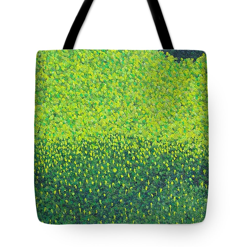 Abstract Tote Bag featuring the painting Soft Green Wet Trees by Dean Triolo
