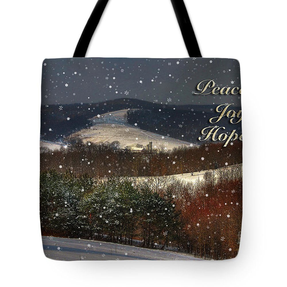 Christmas Tote Bag featuring the photograph Soft Sifting Christmas Card by Lois Bryan