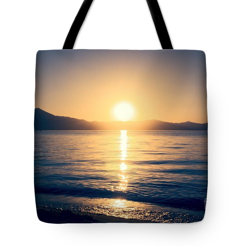 Soft Tote Bag featuring the photograph Soft Sunset Lake by Joe Lach