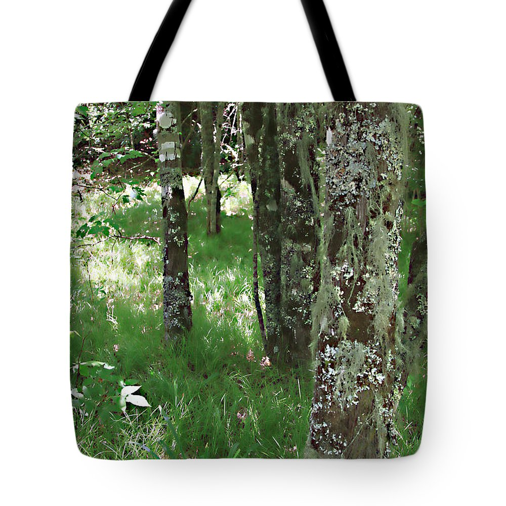 Trees Forrest Green Photograph Photography Digital Summer Tote Bag featuring the photograph Soft Trees by Shari Jardina