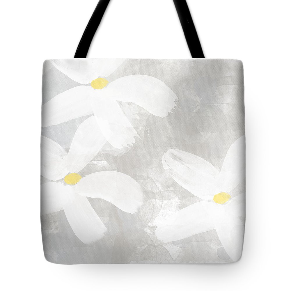 Flowers Tote Bag featuring the painting Soft White Flowers by Linda Woods