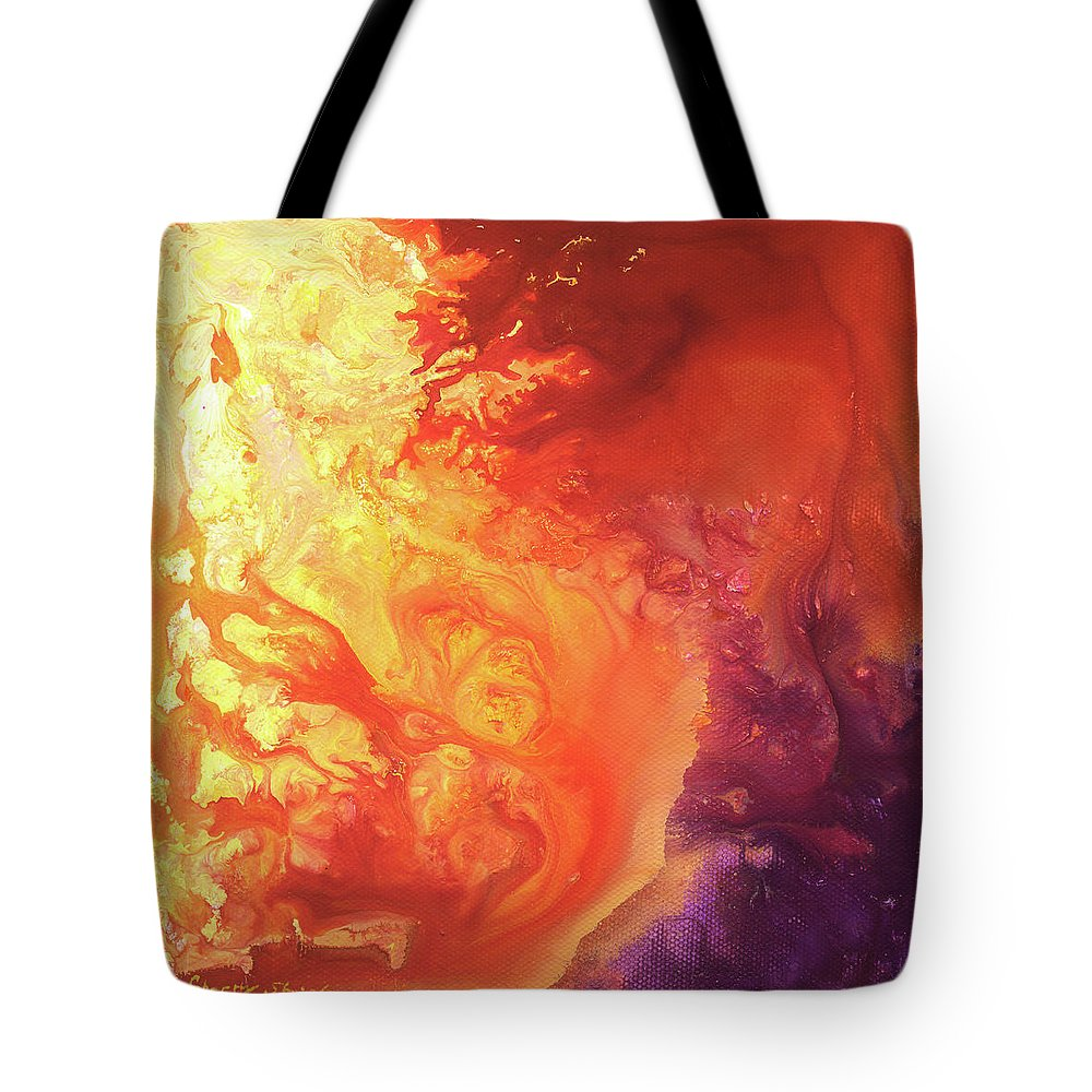 Sun Tote Bag featuring the painting Solar Flare by Sherry Shipley