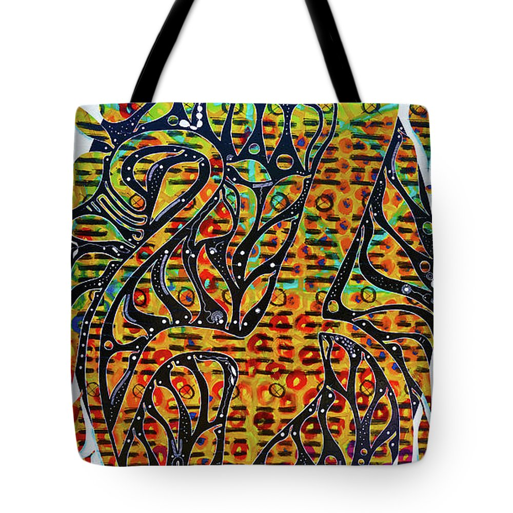 Guadeloupe Tote Bag featuring the painting Solar Jaguar by Jocelyn Akwaba-Matignon