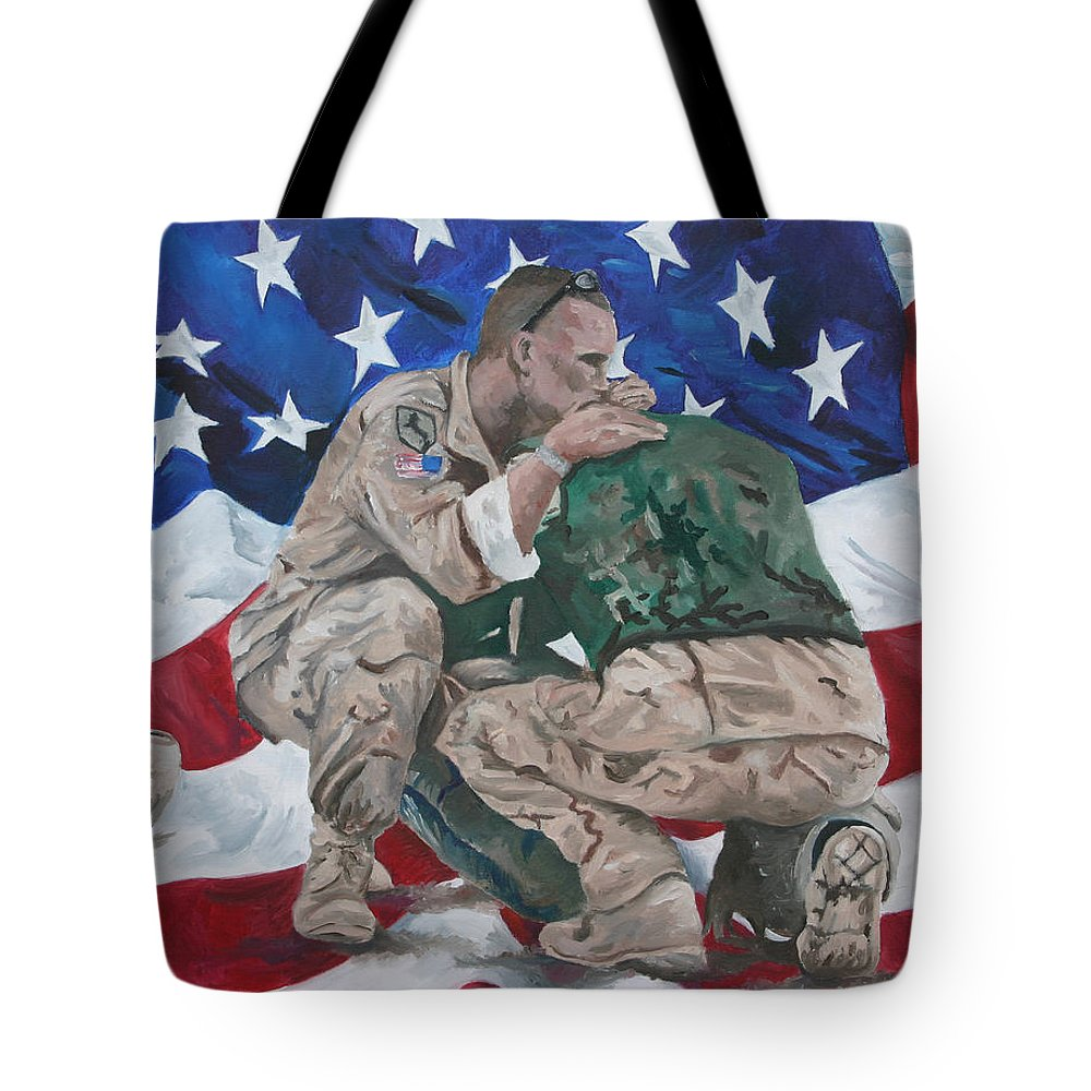 Soldiers Tote Bag featuring the painting Soldiers by Travis Day