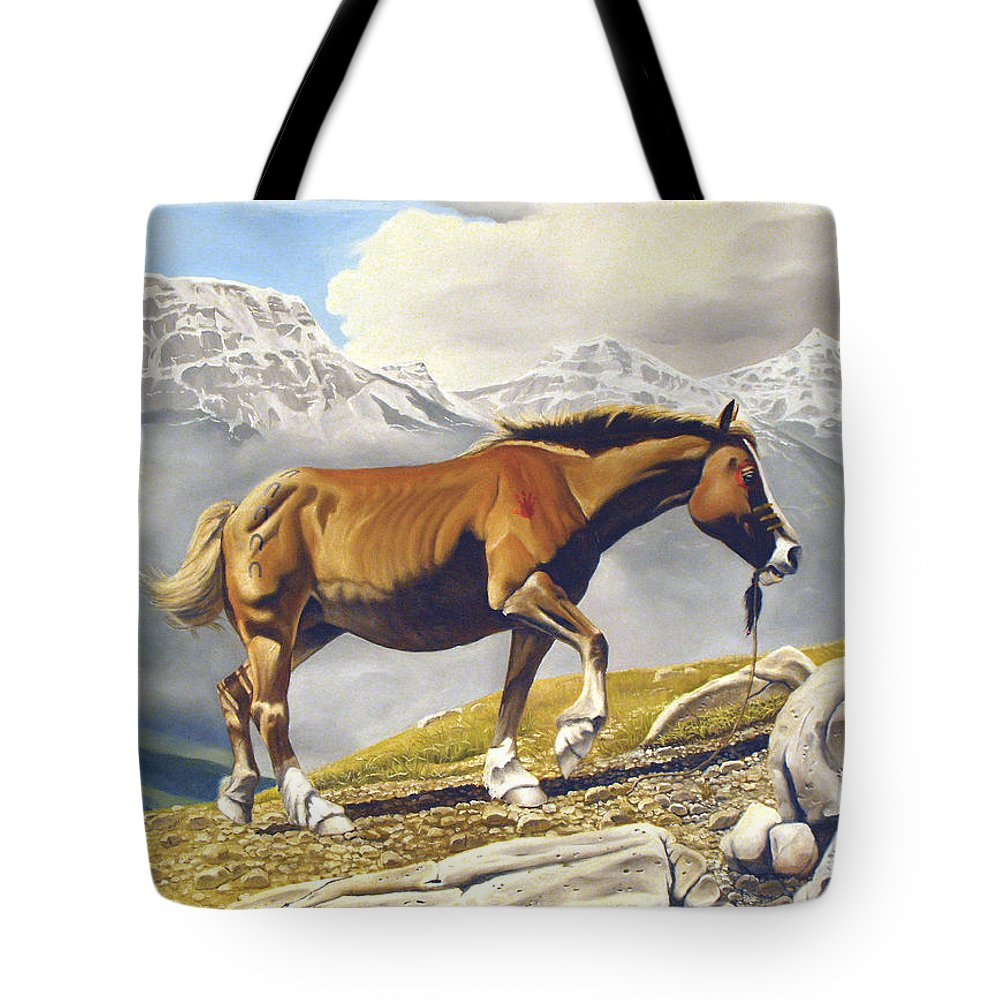 Horse Tote Bag featuring the painting Sole Survivor by Marc Stewart