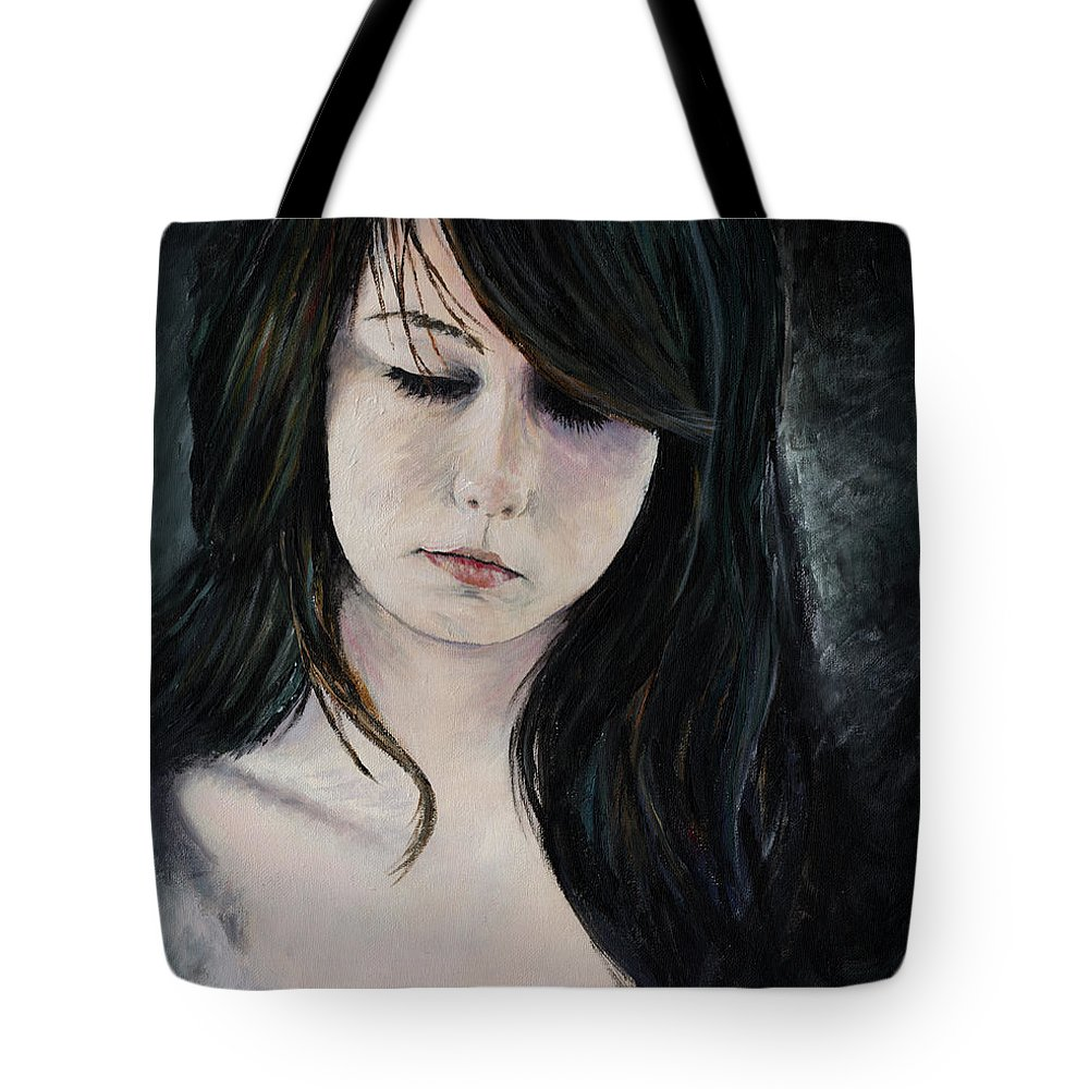 Girl Painting Woman Sexy Beautiful Cute Solemn Serious Thinking Thinker Bleek Dark Darkness Portrait Acrylic Painting Tote Bag featuring the painting Solemn by Priscilla Vogelbacher