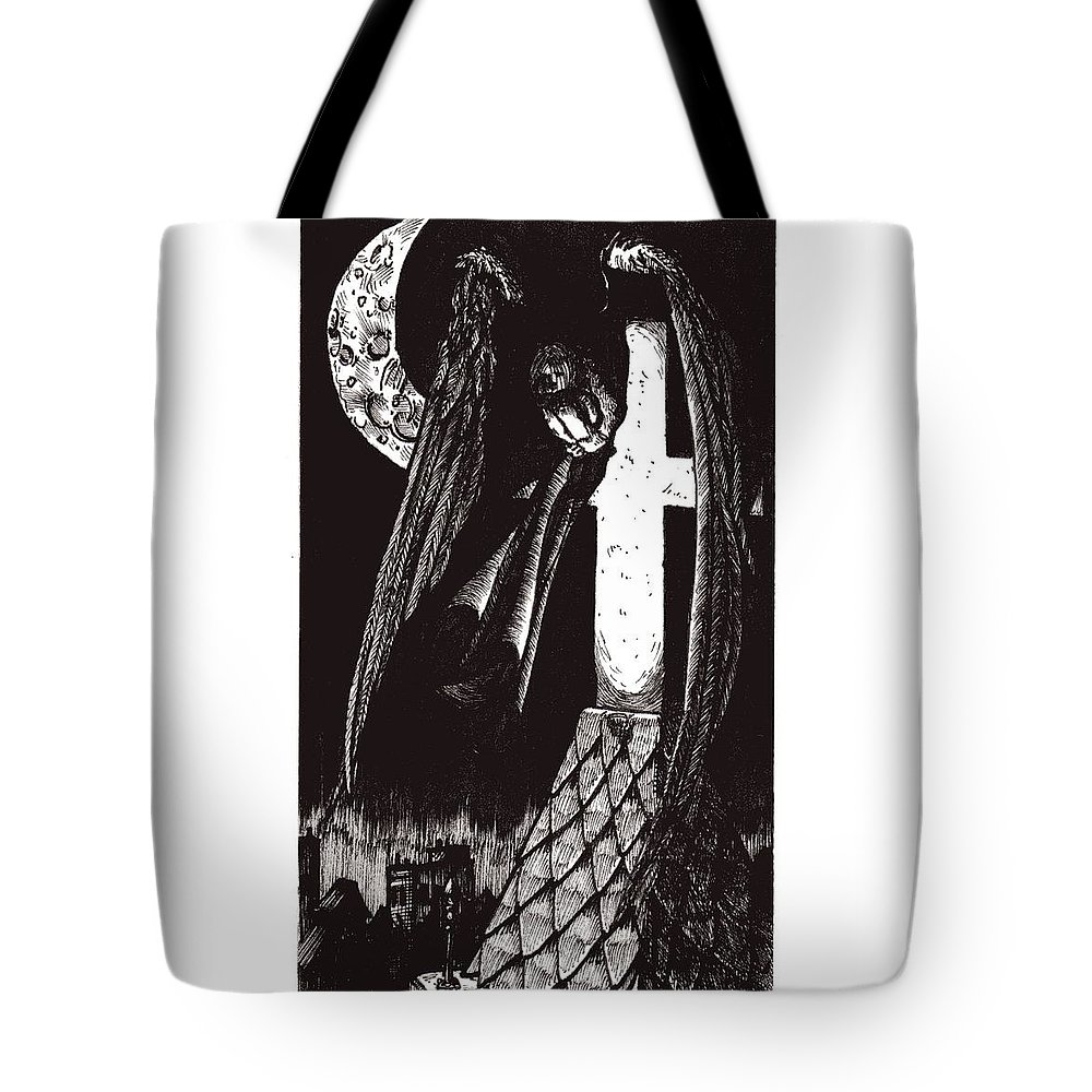 Angel Tote Bag featuring the drawing Solemn Vigil by Tobey Anderson