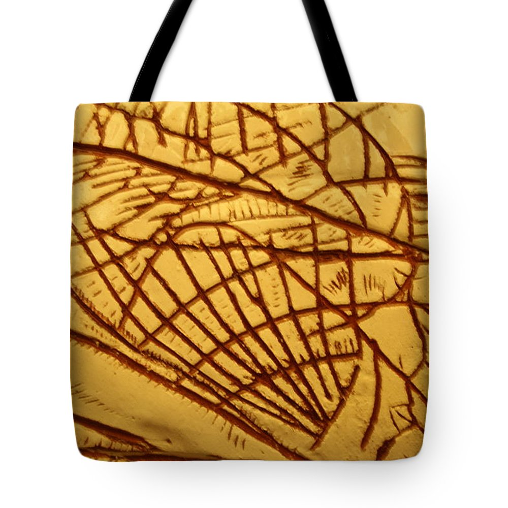 Jesus Tote Bag featuring the ceramic art Solid - Tile by Gloria Ssali
