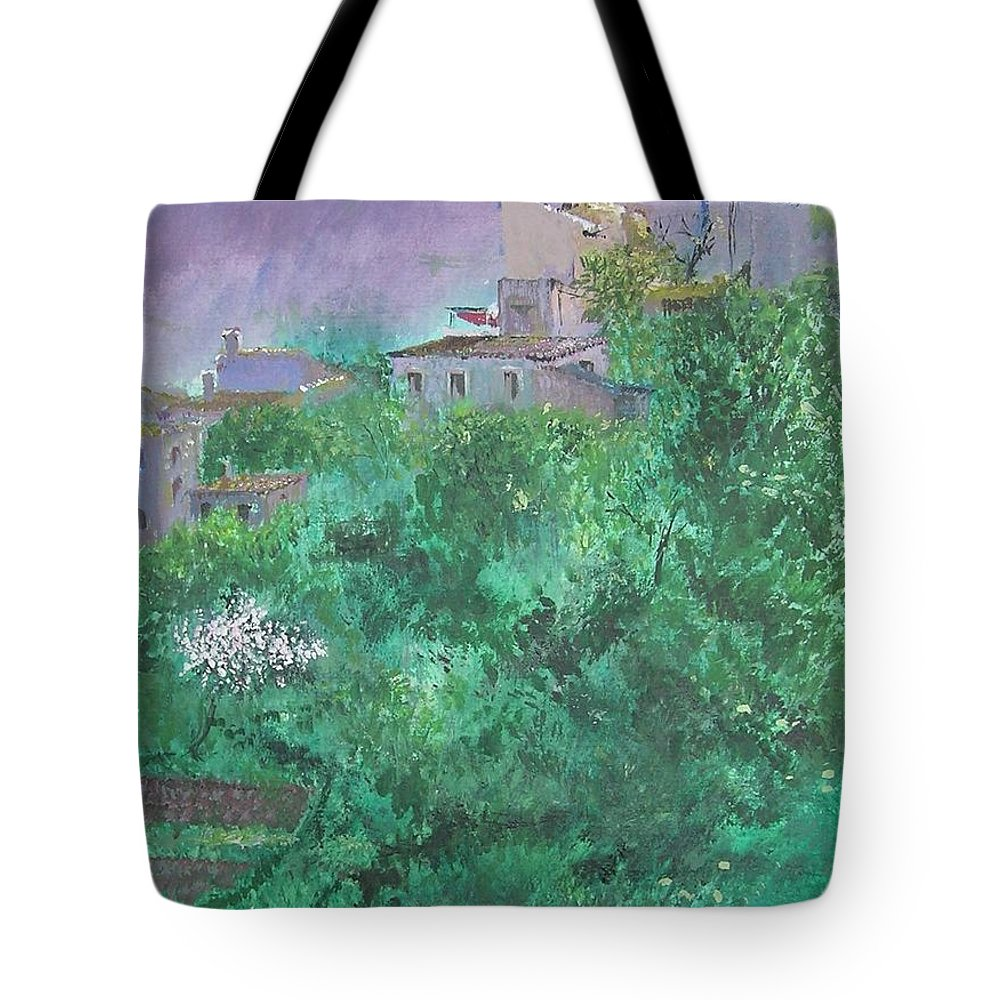 Impressionist Tote Bag featuring the painting Solitary Almond Tree In Blossom Mallorcan Valley by Lizzy Forrester