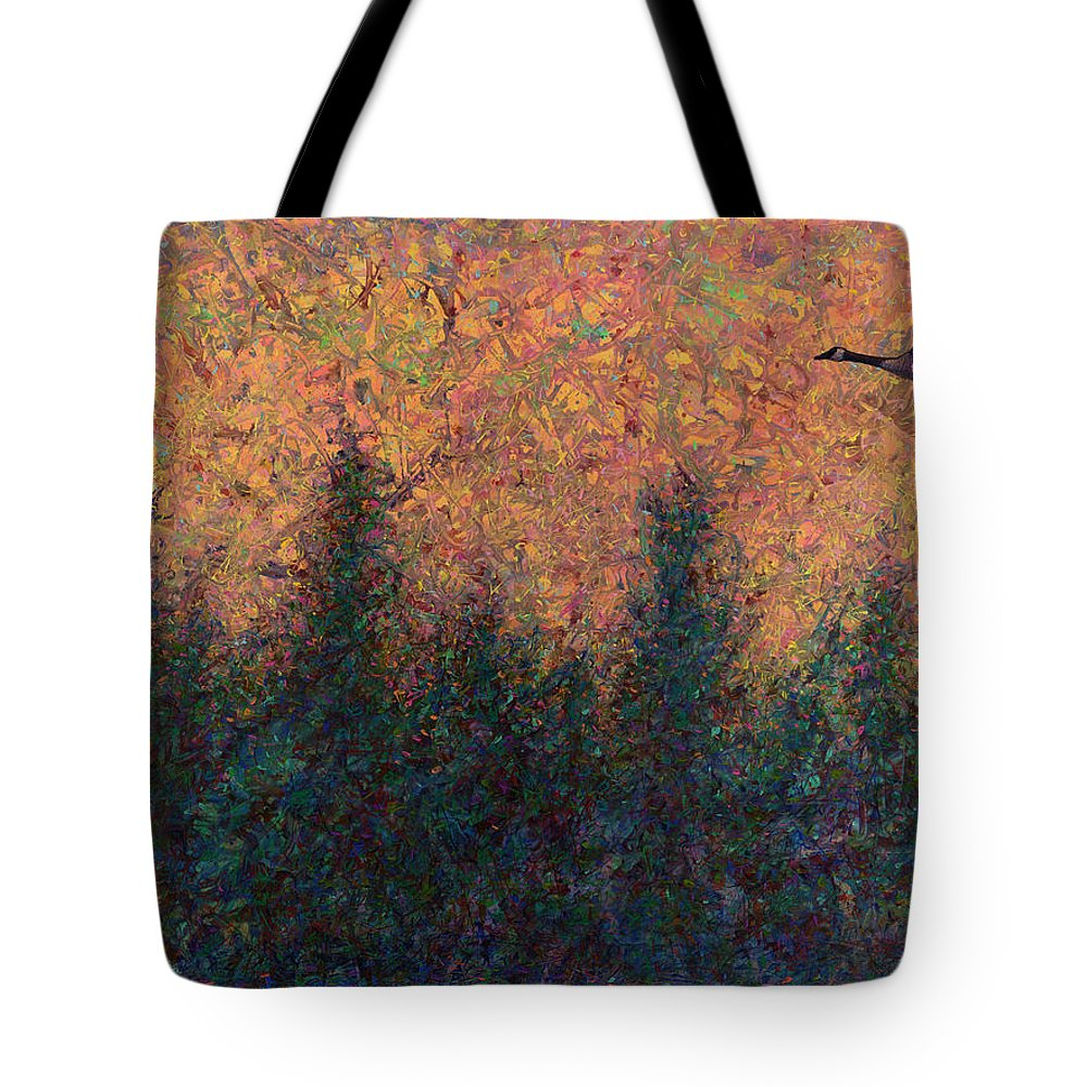 Goose Tote Bag featuring the painting Solitary Goose by James W Johnson