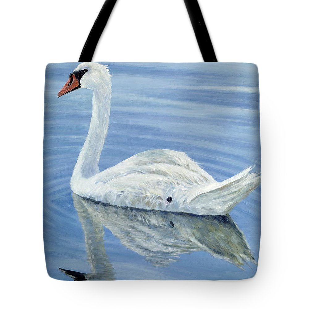 Swan Tote Bag featuring the painting Solitary Swan by Danielle Perry