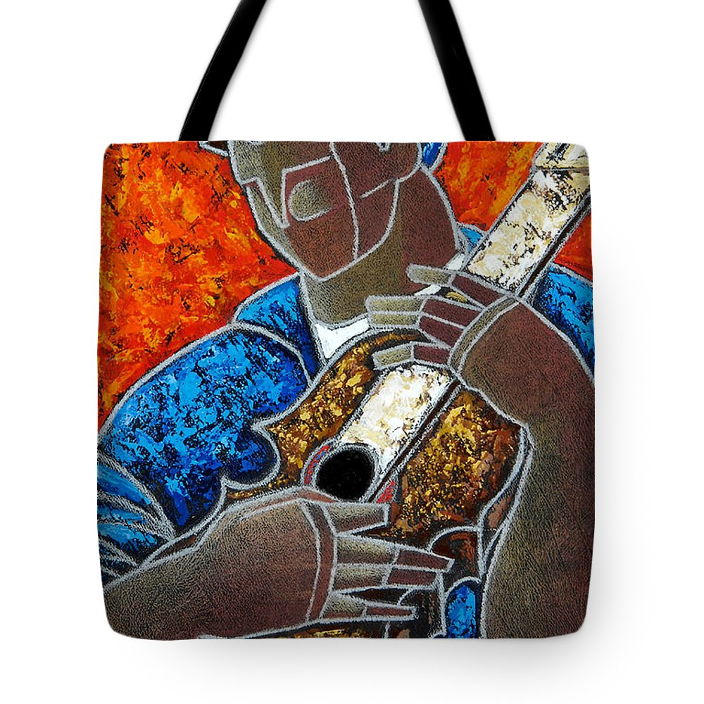 Puerto Rico Tote Bag featuring the painting Solo De Cuatro by Oscar Ortiz