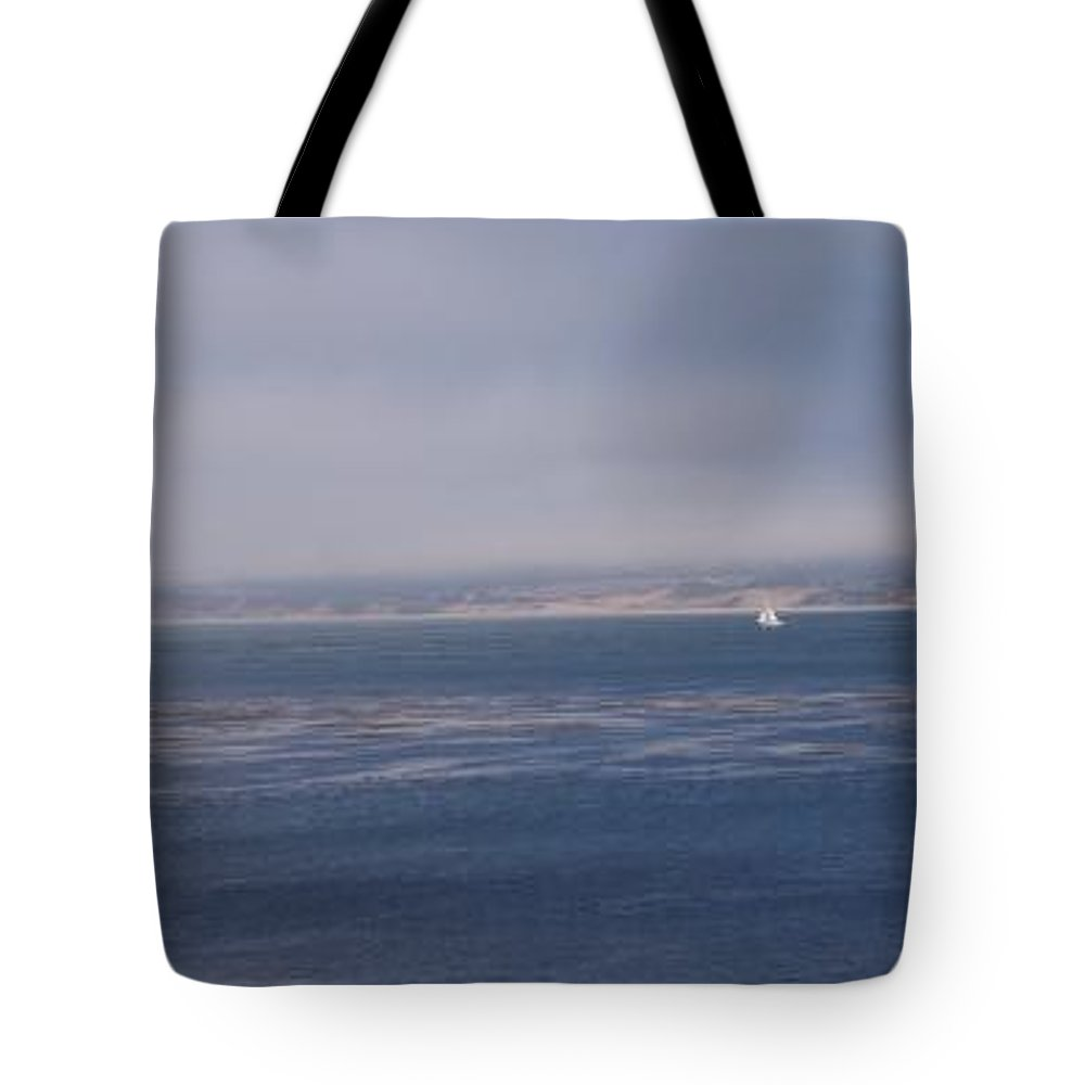 Sailing Outdoors Sail Ocean Monterey Bay Sea Seascape Boat Shoreline Sky Pacific Nature California Tote Bag featuring the photograph Solo Sail In Monterey Bay by Pharris Art