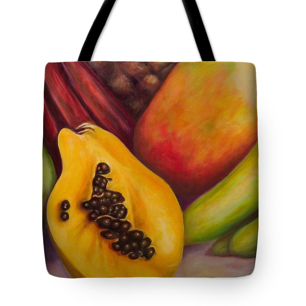 Tropical Fruit Still Life: Mangoes Tote Bag featuring the painting Solo by Shannon Grissom
