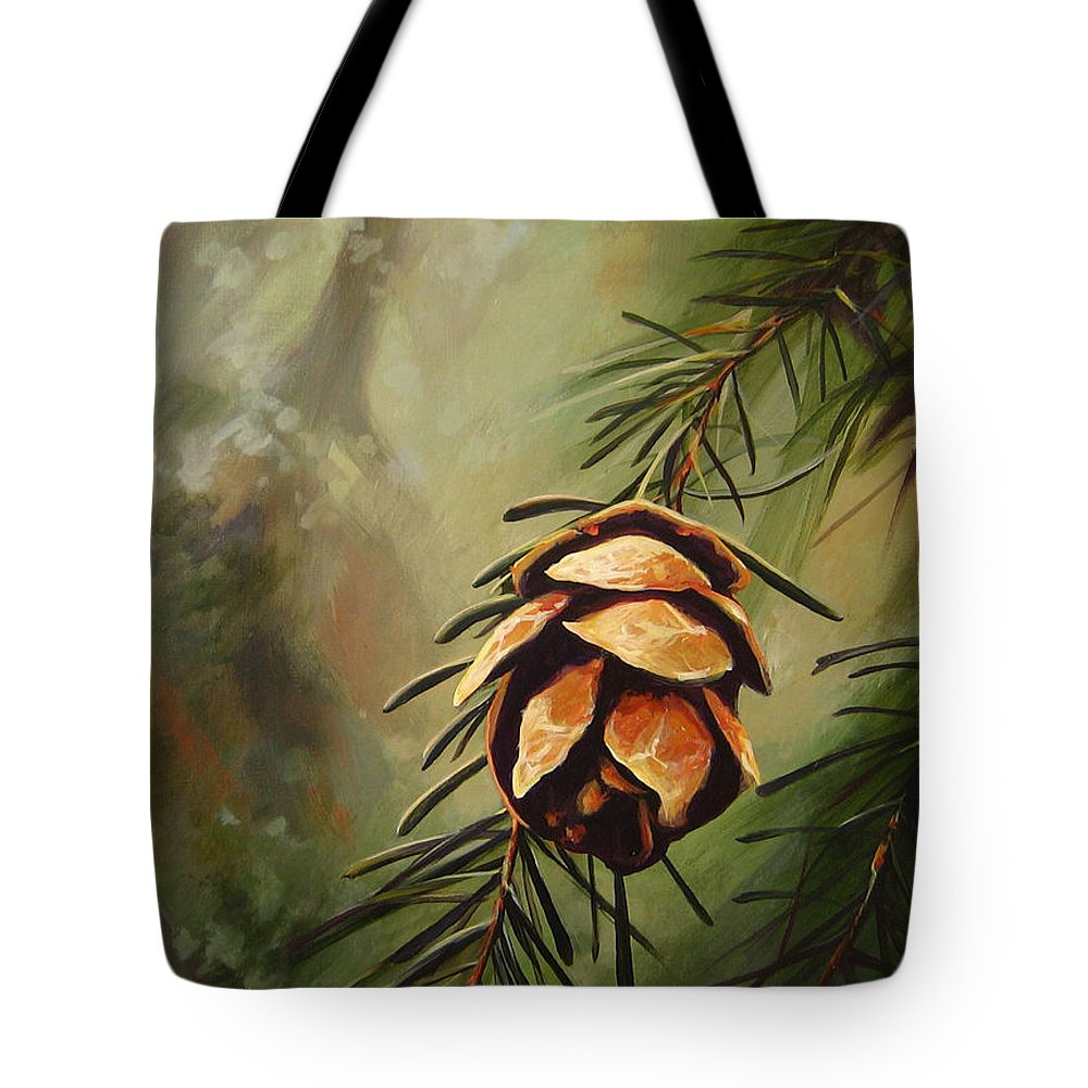 Closeup Of Spruce Cone Tote Bag featuring the painting Solstice by Hunter Jay