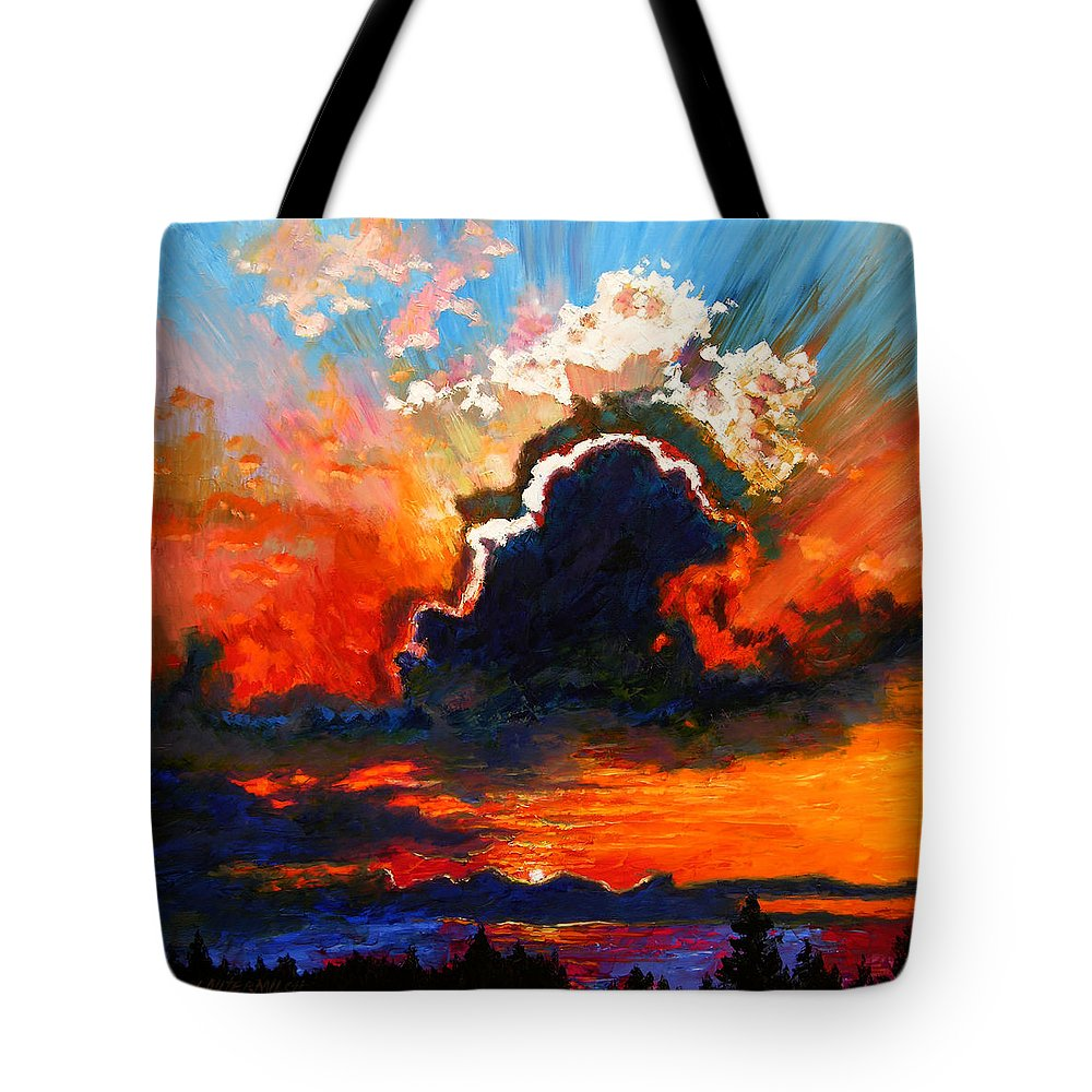 Landscape Tote Bag featuring the painting Some Glad Morning by John Lautermilch