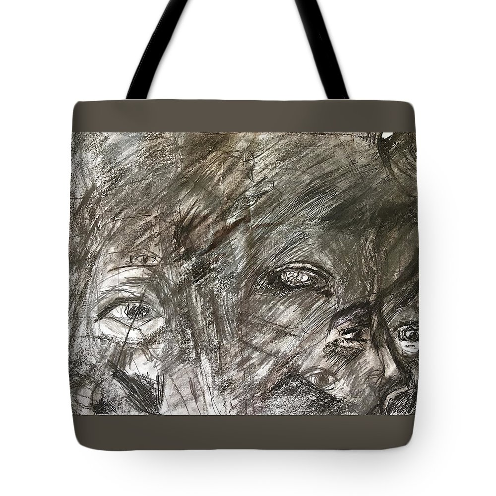 Abstract Tote Bag featuring the drawing Some Of My Eyes by Judith Redman
