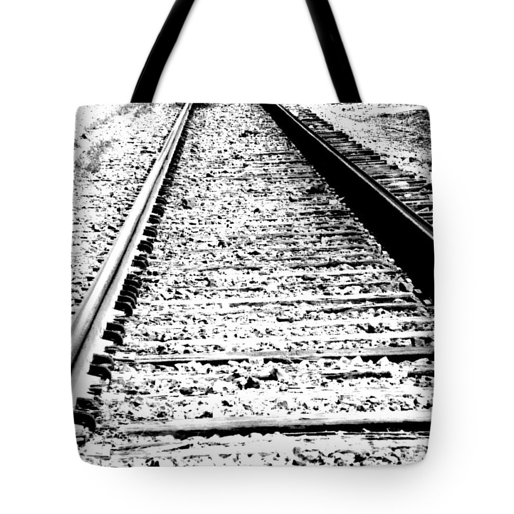 Abstract Tote Bag featuring the photograph Something About The Railroad Tracks by Lenore Senior