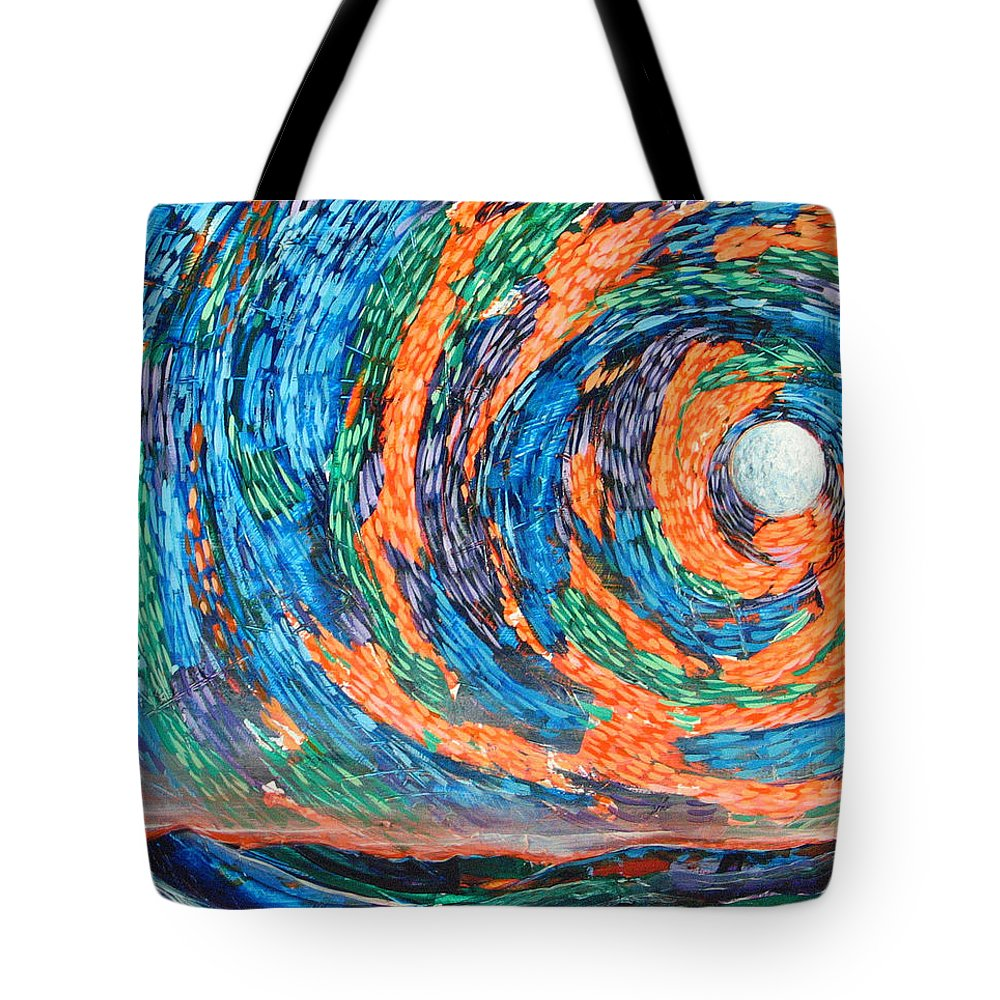 Skyscape Tote Bag featuring the painting Something Always Happens by Rollin Kocsis