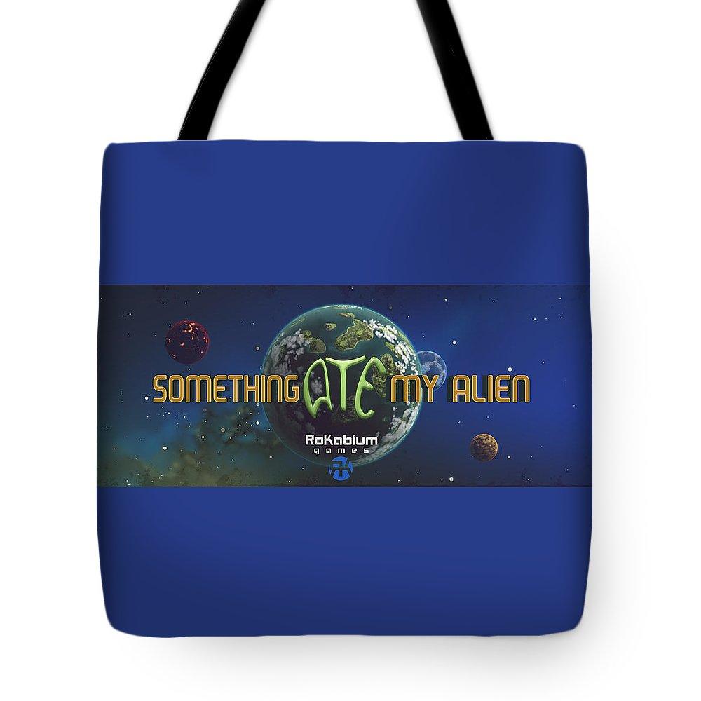 Video Game Tote Bag featuring the digital art Something Ate My Alien #1 by RoKabium Games