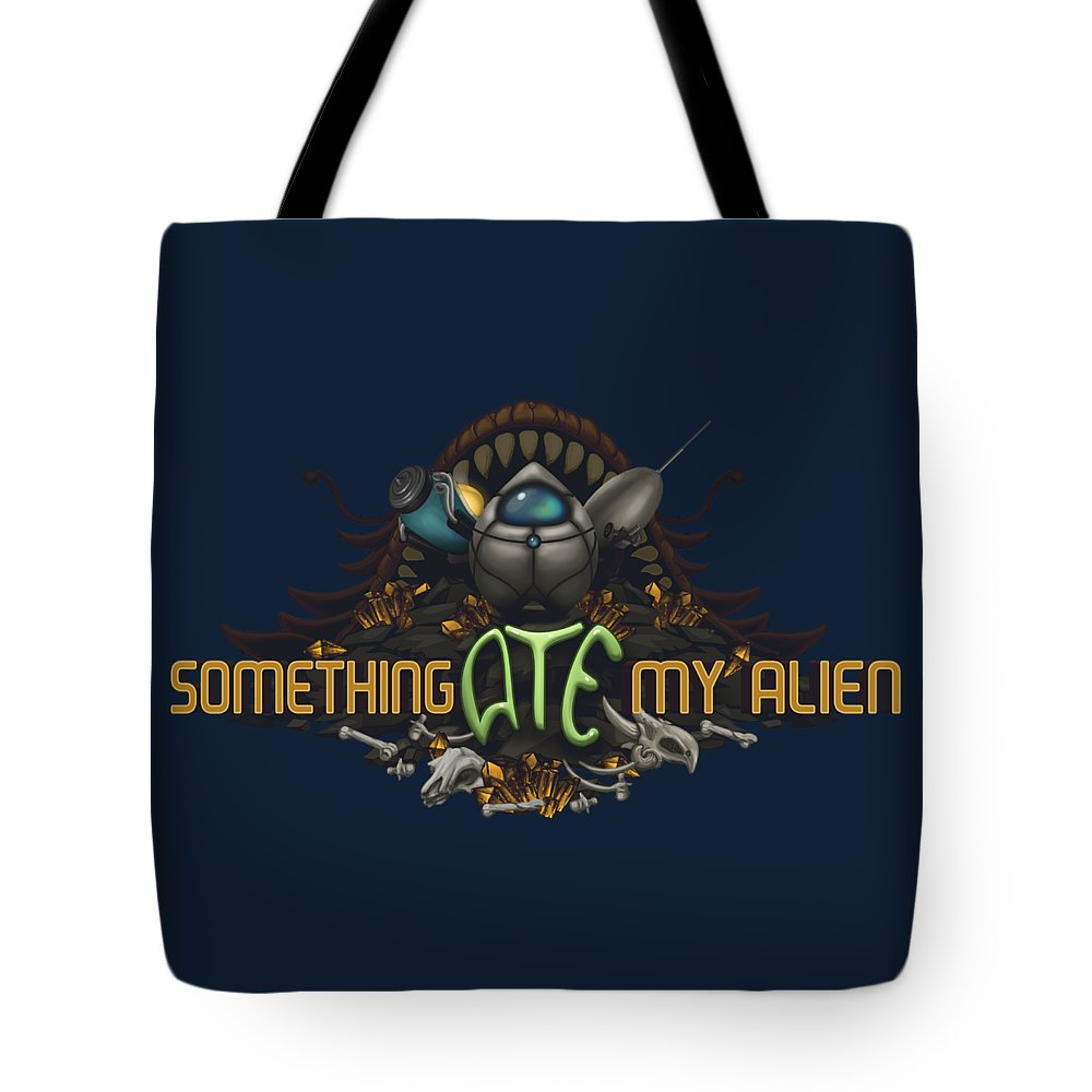 Video Game Tote Bag featuring the digital art Something Ate My Alien #2 by RoKabium Games
