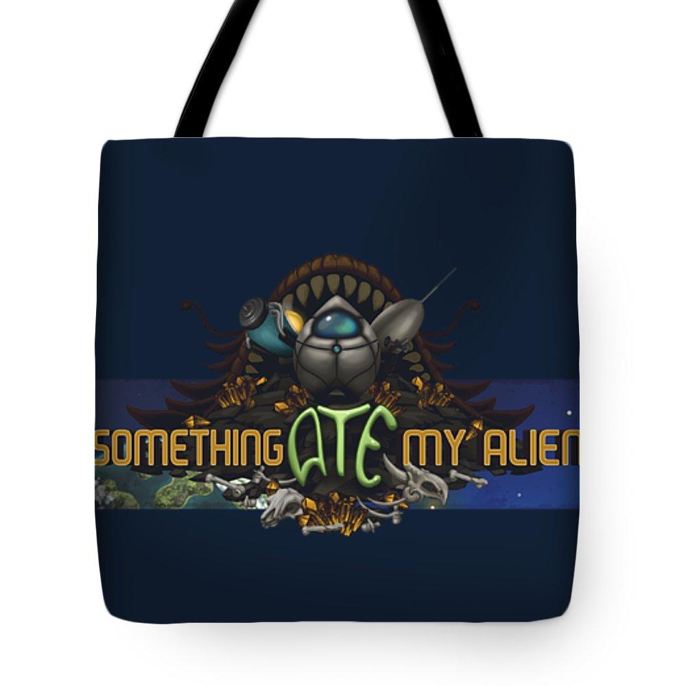 Video Game Tote Bag featuring the digital art Something Ate My Alien #3 by RoKabium Games