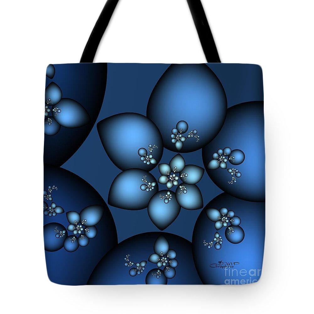 Fractal Tote Bag featuring the digital art Something Blue by Jutta Maria Pusl