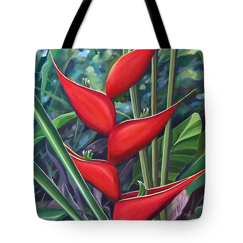 Heliconia Tote Bag featuring the painting Something In Red by Hunter Jay