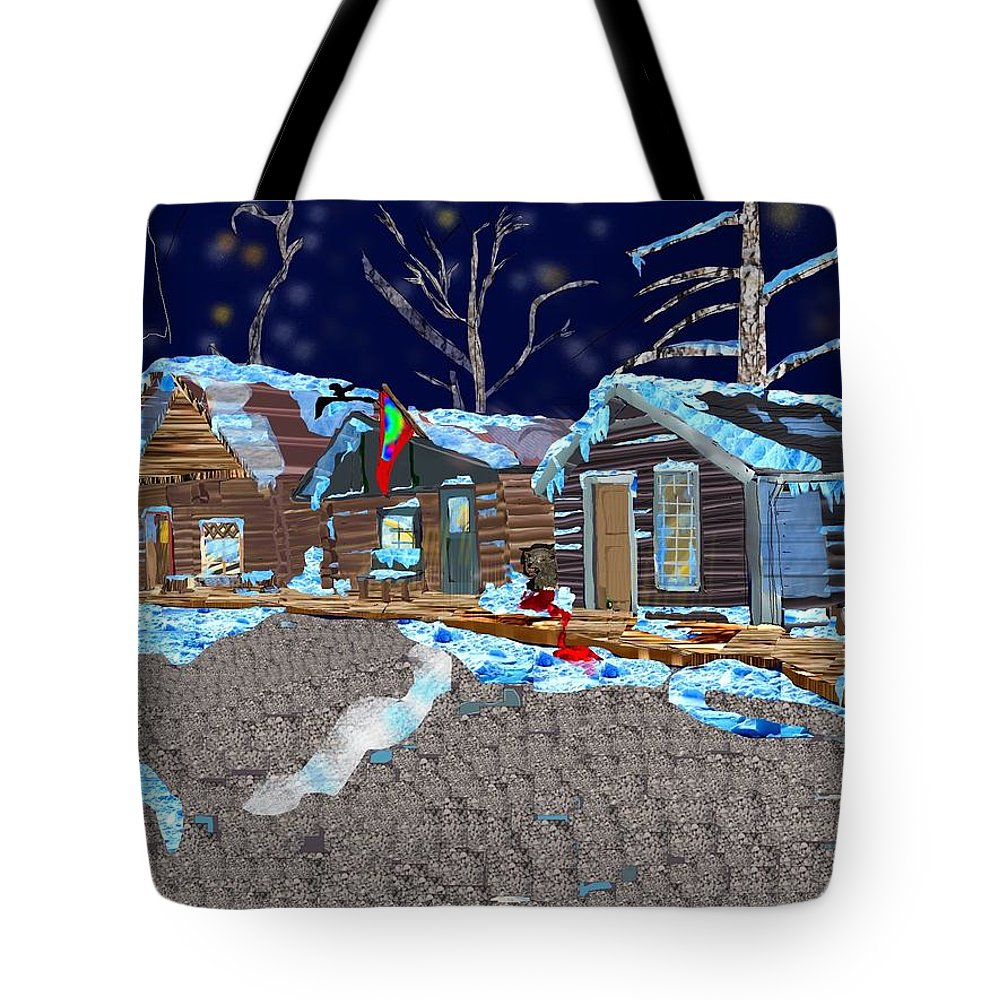 Wood Tote Bag featuring the digital art Something In The Night by Michael Bartlett